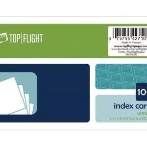 """Index Cards 3"""" x 5"""" UNuled 100 ct"""