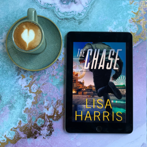 The Chase book cover and coffee with latte art