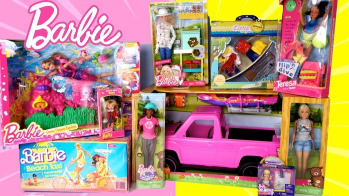 New Vs Old Barbie Toy Unboxing – Barbie Camping Truck, Toddler School Doll & Beach Bike