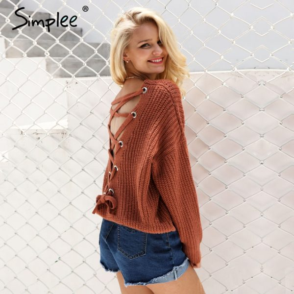 Sexy Backless Knitting Pullover Winter Sweater