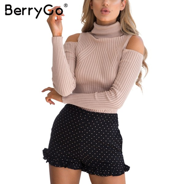 Turtleneck Cold Shoulder Knitted Sweater Women
