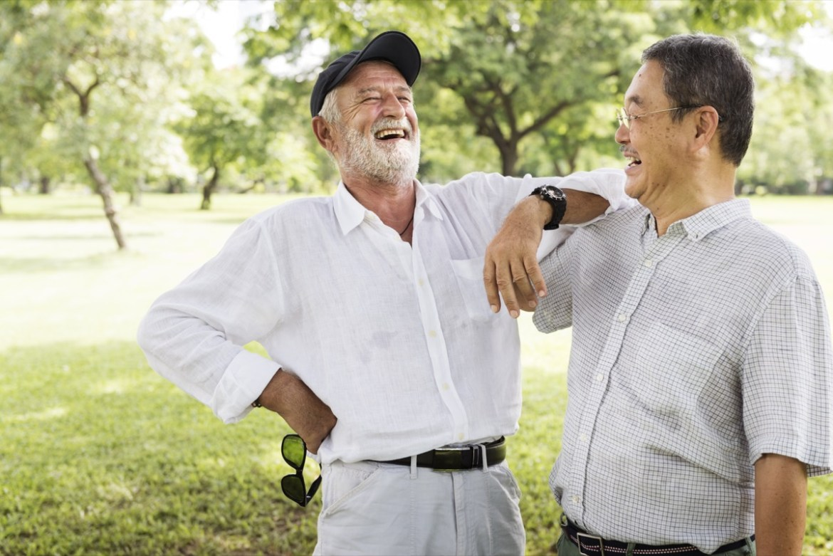 Older friends sharing a laugh