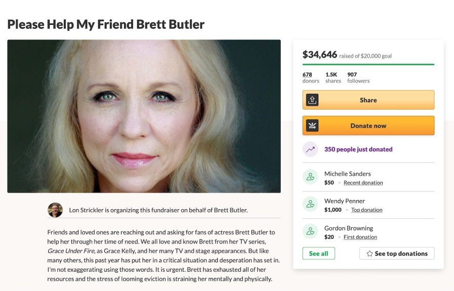 Brett Butler sends GoFundMe in the middle of the risk of eviction in 2021