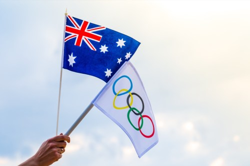 Australian and Olympic flags