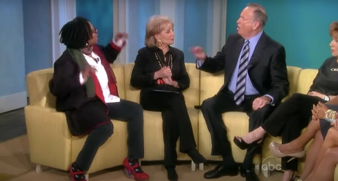 Whoopi Goldberg, Barbara Walters, and Bill O'Reilly on The View