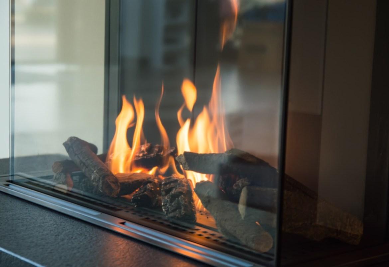 modern gas fireplace burning