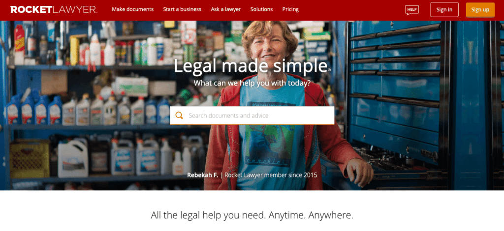 Rocket Lawyer website
