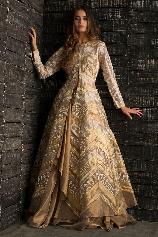 Gold Tissue Wedding Party Mehndi Skirt