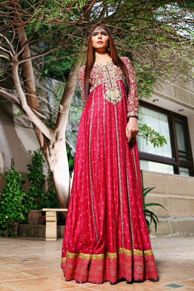 4f419298c33 Vibrant and Refreshing Pink Floor Length Pakistani Mehndi Dress Online by Sana  Abbas