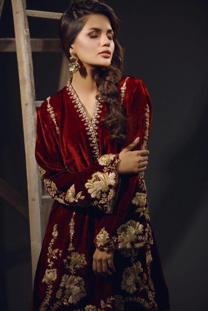 Beautiful and Stylish Maroon Three Piece Velvet Mehndi Dress by Sana Abbas