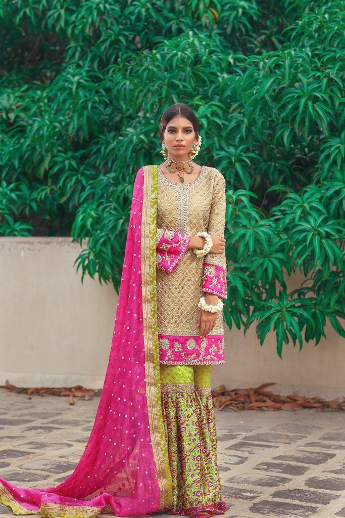 Beautiful and Traditional Lemon Green and Gold Banarsi Mehndi Dress by Pakistani Designer Sana Abbas
