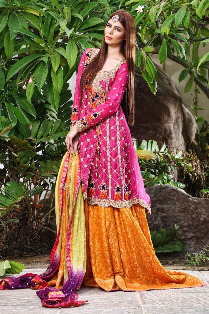 Pakistani Traditional Lehnga Choli Mehndi Dress by Sana Abbas in Bright Colors
