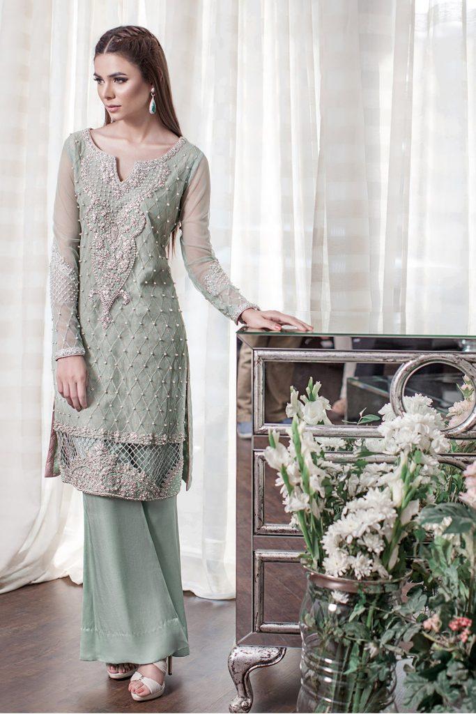 Pistachio Green Tissue and Chiffon Fabric Pakistani Mehndi Dress with Embellishments by Sana Abbas