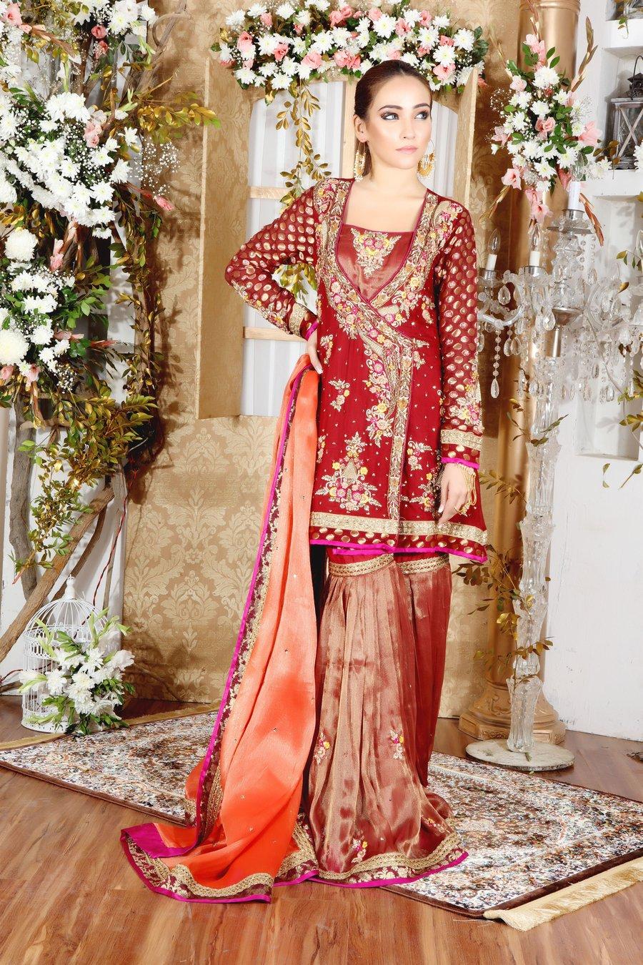 Majestic Maroon Mehndi Angrakha Dress with Gharara Pants and Chiffon Dupatta by Sarosh Salman