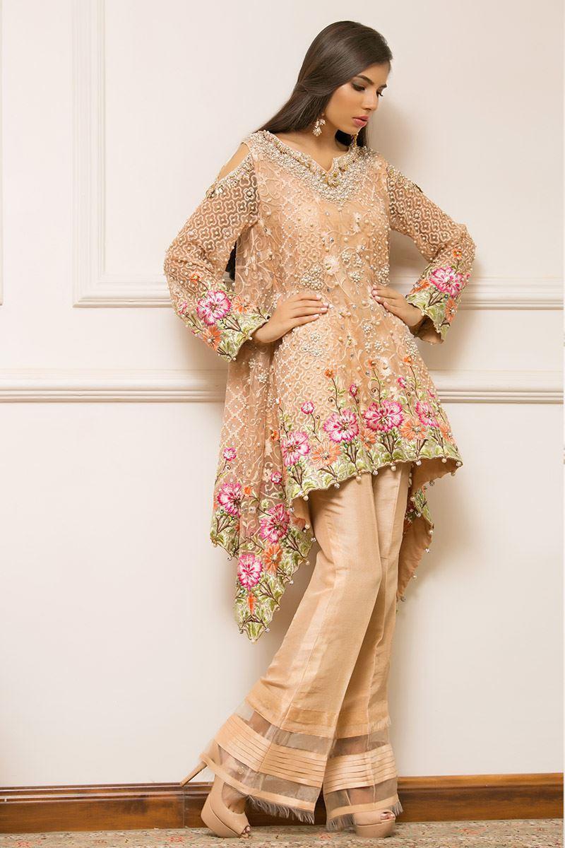 Peach Organza Mehndi Outfit by Annus Abrar