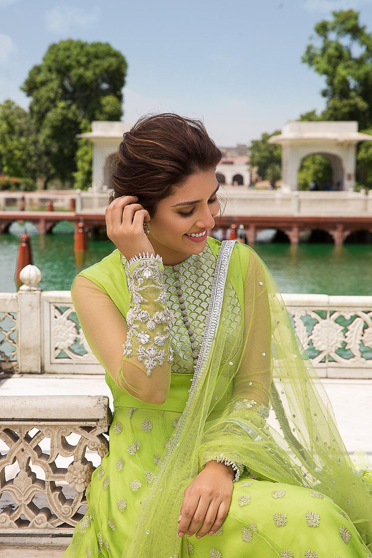 Green Anarkali Mehndi Dress by Faiza Saqlain