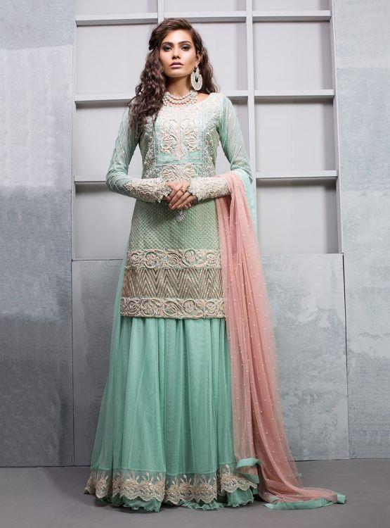 Green Lehenga for Mehndi Function by Zainab Chottani