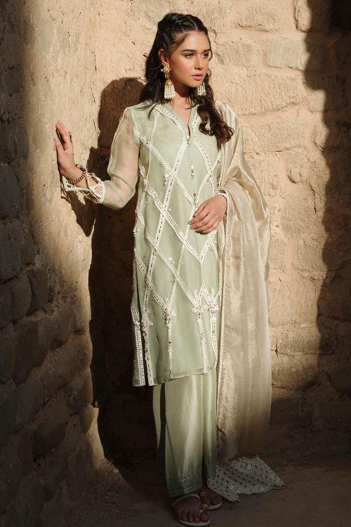 Green Mehndi Shalwar Kameez by Nida Azwer