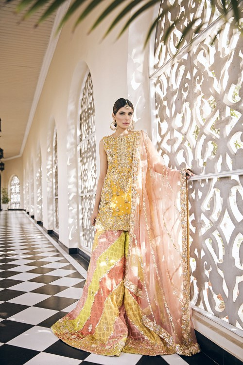 Mehndi Yellow Dresses by Rema and Sherbano
