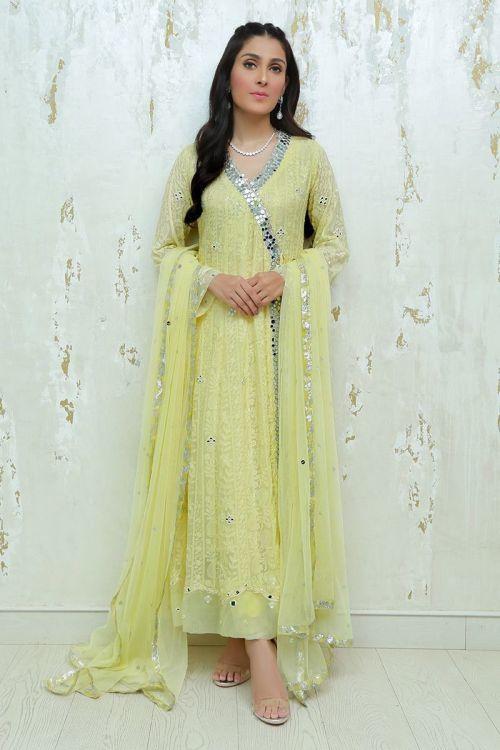 Yellow Dress for Mayun by Ansab Jahangir