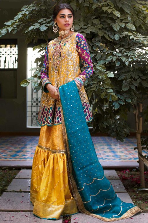 Yellow Sharara Mehndi Dress by Sana Abbas