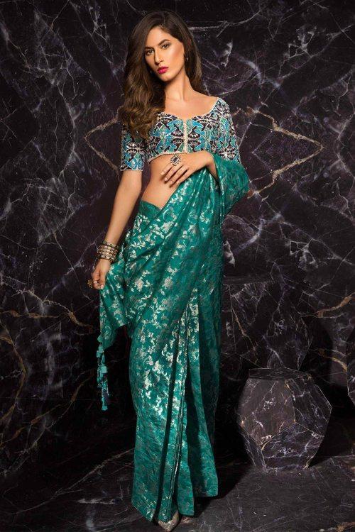green saree for mehndi function