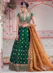 orange and green mehndi dress