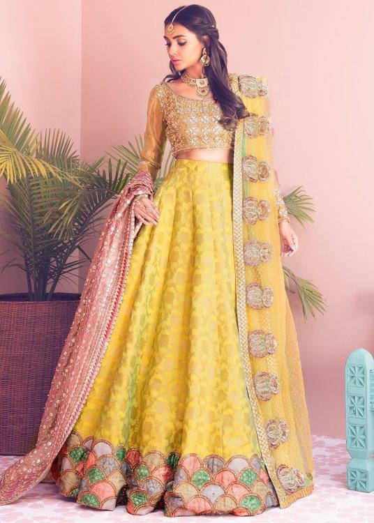yellow green mehndi dresses by Sadaf Fawad Khan