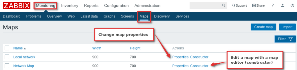 Picture showing where you can create or edit Zabbix maps