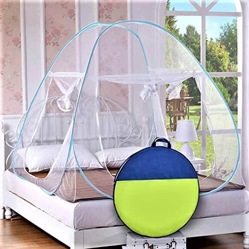 StoryHome Mosquito Net Foldable King SizeQueen Size Double Bed (Blue)