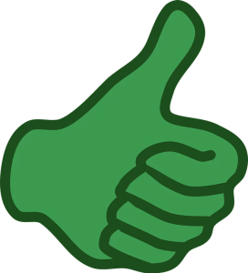 green hand showing thumbs up