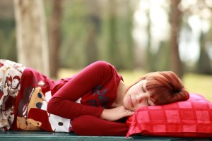 Girl sleeping on a sofa