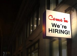 A sign saying we're hiring