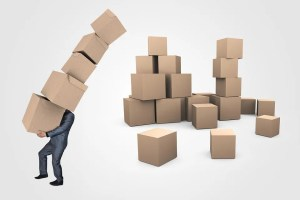 Bunch of boxes held by a man