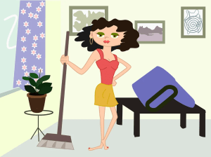 A woman cleaning
