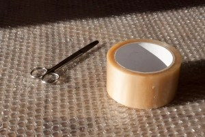 Some tape on bubble wrap