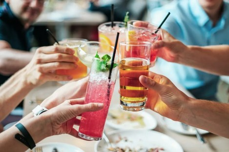 Group of friends toasting.