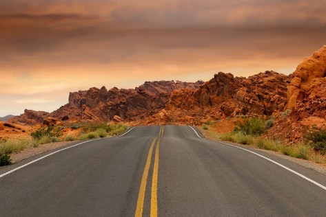 A deserted road.