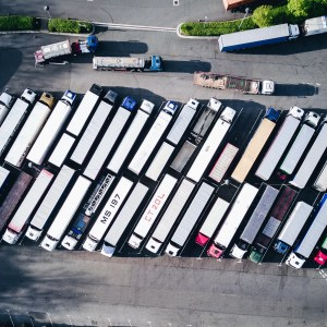 Renting a moving truck - rows of rental trucks