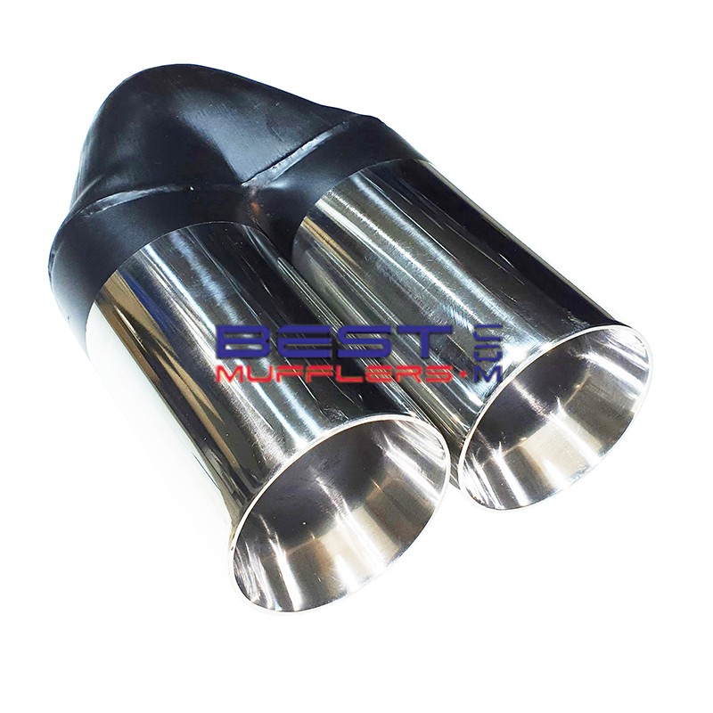 chrome exhaust tip 57mm inlet 2 x 76mm outlet polished stainless