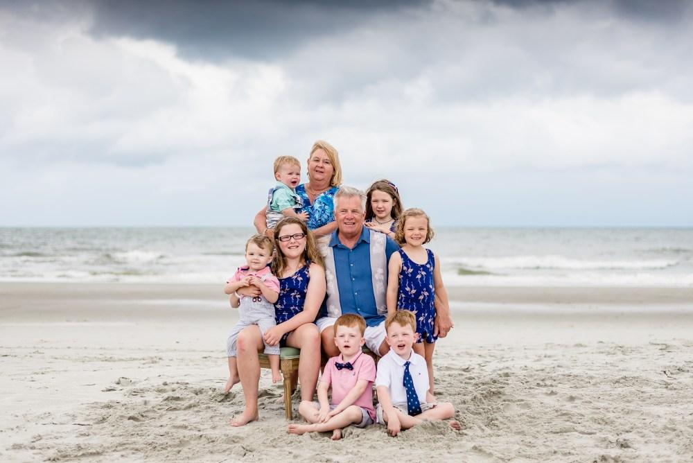 Family portraits on the beach reunion