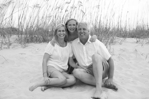 Family of 3 in black & white in dunes of Myrtle Beach
