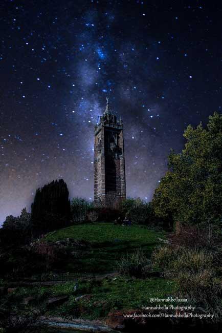 Cabot Tower Bristol at night