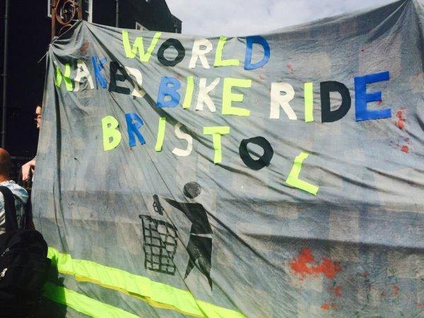 World naked bike ride sign