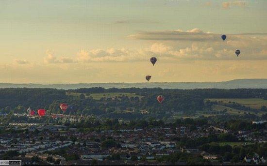 Balloon fiesta from far away
