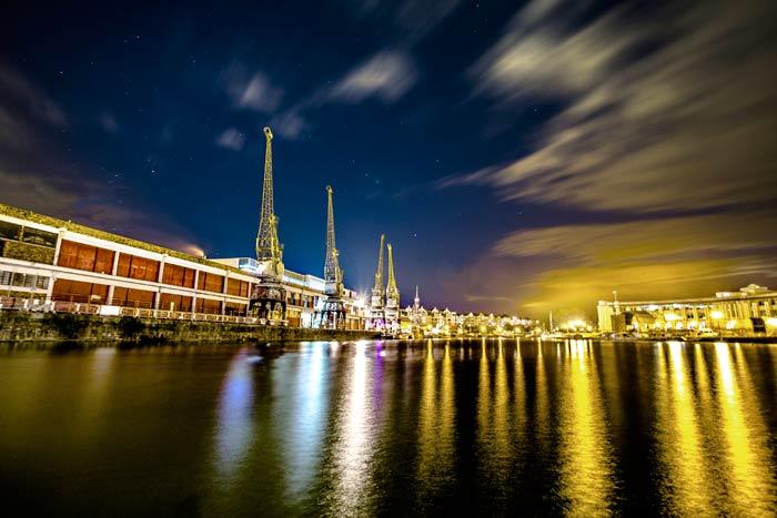 M Shed Cranes at night