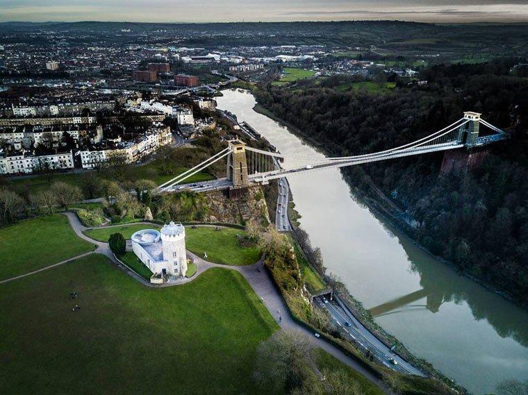 clifton suspension bridge drone