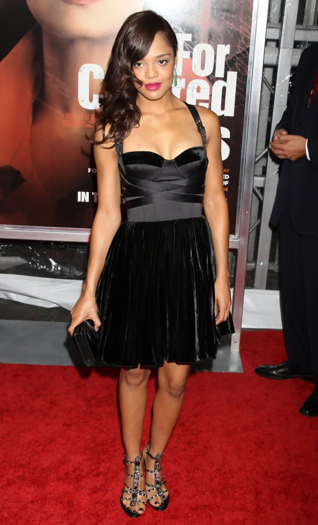 Tessa Thompson Sexy Black Dress