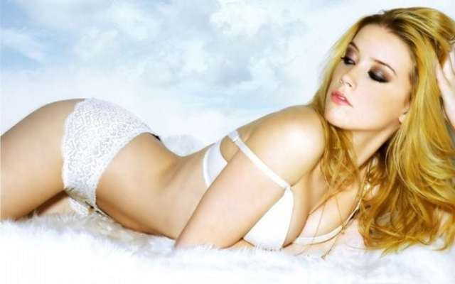 Amber Heard on Bed