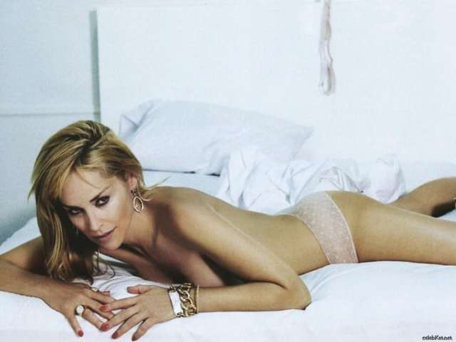Sharon Stone on Bed